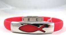 Braccialetto in silicone rosso con placca metallica