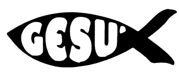 Adesivo Pesce Gesù colore nero
