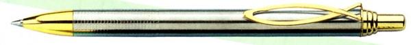 """A471 - Penna elegante """"Kreta"""" argentata con fermaglio dorato"""