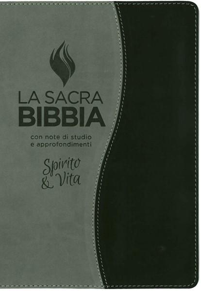 Bibbia da studio Spirito e Vita in Similpelle Bicolore Grigio/Nero (Similpelle) [Bibbia Grande]