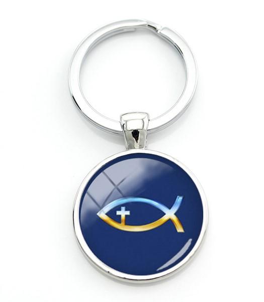 Portachiavi Pesce/Croce blu
