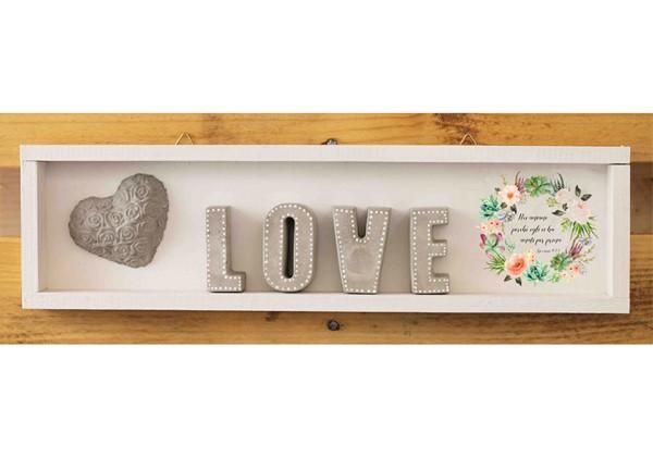 Cubotto rettangolare Love grigio/fiori