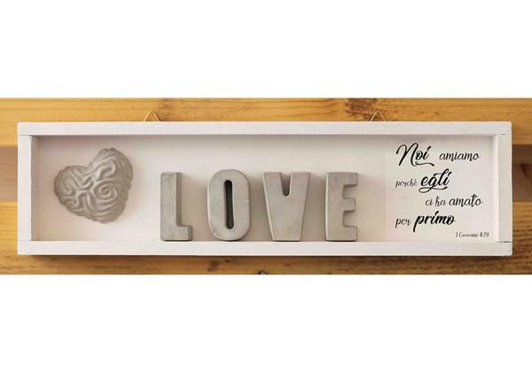 Cubotto rettangolare Love grigio