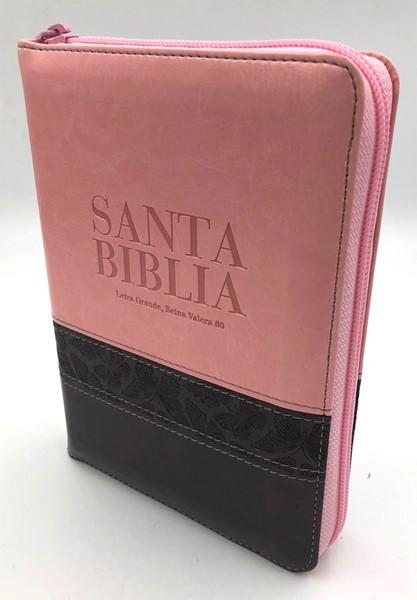 Biblia RVR60 Tamaño Manual Letra Grande Cierre Indice Rosa Marrón (Similpelle)
