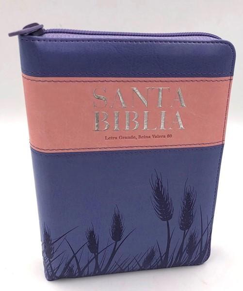 Biblia RVR60 Letra Grande Compacta índice Cierre Lila/Rosa (Similpelle)