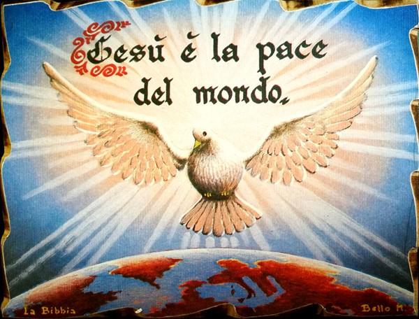 Quadretto in legno lavorato a mano - Gesù è la pace del mondo