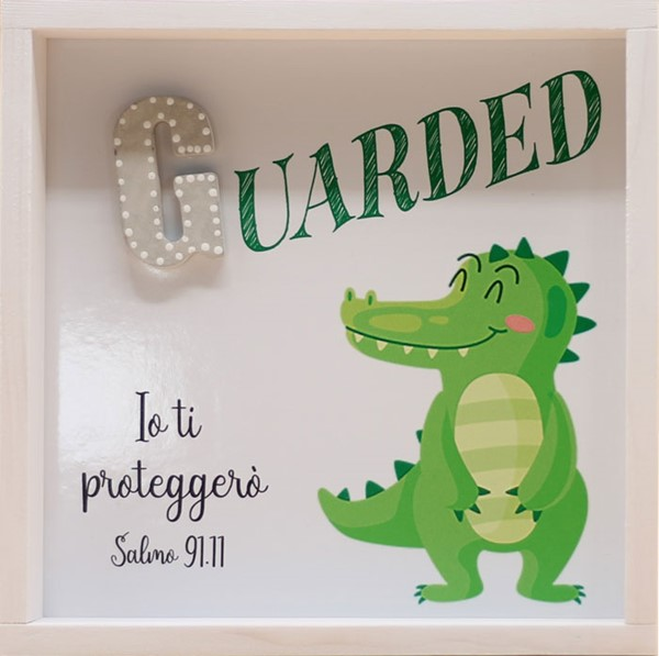 Quadro in legno Guarded - Coccodrillo Salmo 91:11 (#418)