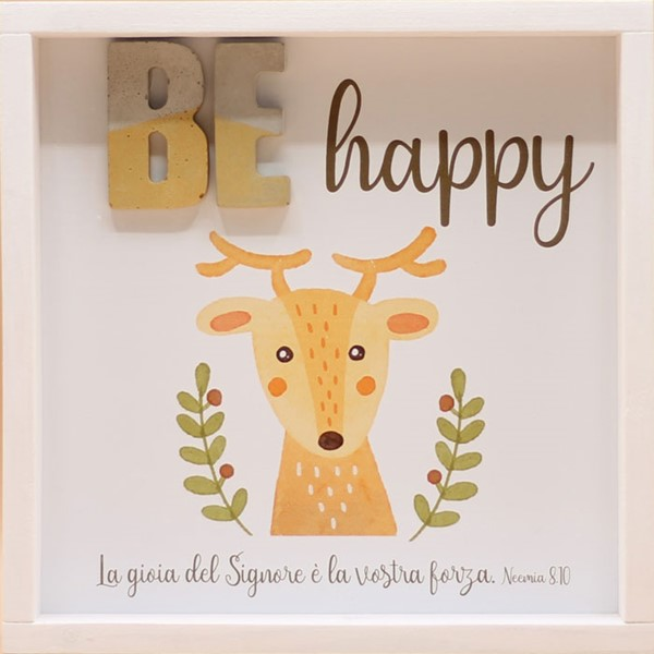 Quadro in legno Be happy Neemia 8:10 (#422)