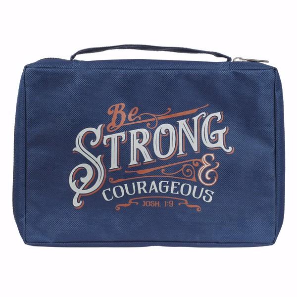 Copribibbia Be Strong & Courageous Navy Joshua 1:9 (Stoffa)