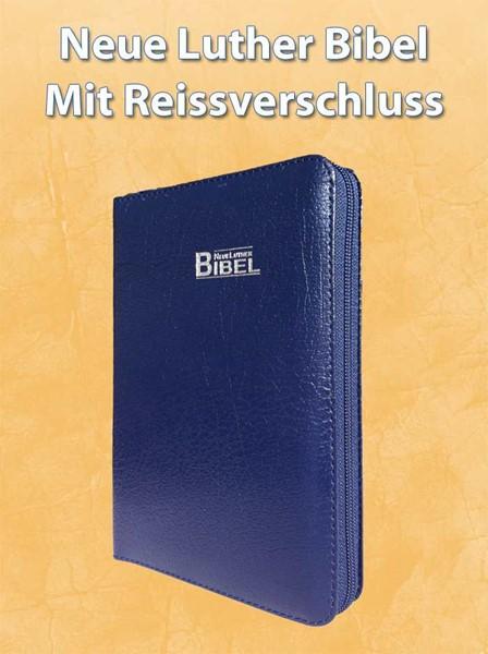 Neue Luther Bible - Leder Blau mit Reissverschluss