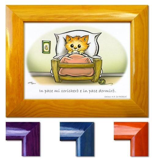 Quadretto con versetto Salmo 4:8 - Disponibile in quattro colori diversi - La cornice è indicativa