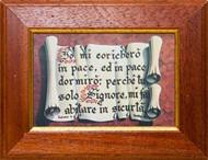 """Quadretto con stampa """"Pergamena srotolata"""" e con versetto biblico Salmo 4:8"""