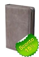 Copribibbia artigianale in pelle colore grigio Medium (50423)