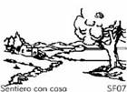 Sentiero con casa - Sfondo su flanella